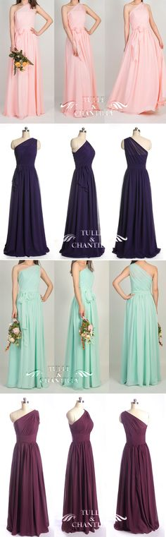#weddingcolors one shoulder long chiffon bridesmaid dresses 2015 in pink, purple, mint and aubergine
