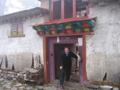 Author exits Pangboche Gompa (monastery), Khumbu, Nepal.