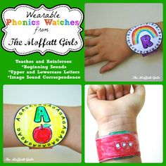 Wearable Phonics Watches! GREAT for teaching BEGINNING sounds! Just color, cut and wear!
