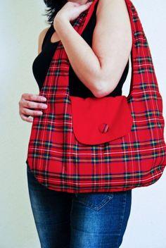 Handmade large shoulder bag in Red Plaid by LilachOren, $76.00  #Etsy #handmdae  #Bag