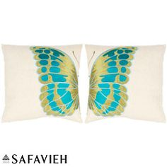 @Overstock - Make a spectacular statement with this set of two bookended pillows, each comprising one wing of a single brilliantly-toned butterfly to combine to make a single butterfly with elegance that be treasured.http://www.overstock.com/Home-Garden/Majestic-Butterfly-18-inch-Cream-Blue-Decorative-Pillows-Set-of-2/6395156/product.html?CID=214117 $51.29