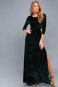 #Lulus - #Lulus Perfect Night Forest Green Velvet Print Maxi Dress - AdoreWe.com