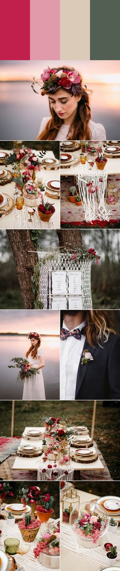 Rouge,  blush, sand, and dark sage wedding color palette | photos by Forester Fotógrafos