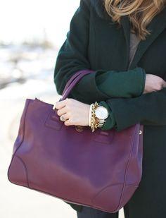 Purple Tory Burch bag and an emerald coat!
