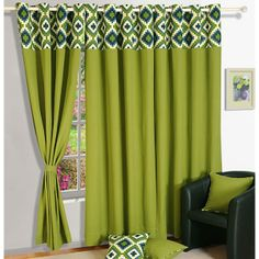 Curtains Online - Choose from a wide range of ✓ Window Curtains ✓ Door Curtains ✓ Living Room Curtains ✓ Bedroom Curtains & More online from Shoppers Stop Now! Printed Curtains, Door Curtains, Curtain Designs, Windows And Doors, Home Furnishings, Concept, Living Room, Interior, Green