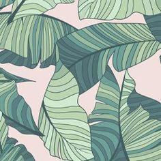 Pink & Green Tropical Leaf Wallpaper Mural   Hovia