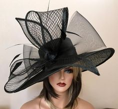Items similar to Black and Cream Couture Sinamay Handblocked Hat - Kentucky Derby Hat, Easter Hat, Royal Ascot Hat on Etsy Sombreros Fascinator, Fascinator Hats, Fascinators, Black Fascinator, Chapeaux Pour Kentucky Derby, Kentucky Derby Outfit, Kentucky Derby Fashion, Royal Ascot Hats, Derby Outfits