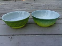 Fire King Green Yellow Kimberley Bowls Made in by Lynnestreasures