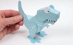 Baixe agora o Molde Dinossauro 3D pronto para imprimir e montar, use na decoração da festa ou faça uma oficina de pintura, as crianças vão amar