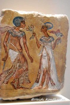 Painted limestone relief of a royal couple in the Amarna style. Some experts believe they portray Smenkhkare and Meritaten. This claim is tenuous at best because of the gait, and more importantly, the walking stick that we have come to associate with Tutankhamun is not a part of the iconography of any other individual from this period. Neues Museum, Berlin.