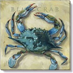 Gallery Wrap on Wood Frame ~ Blue Crab Ideal for any room, mix and match your favorites into groupings. Gygi has created looks that fit your home from botanicals, birds, nautical, seasonal and more… E