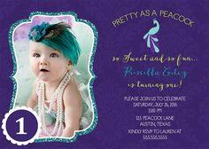 Glitter Peacock 1st Birthday Invitation