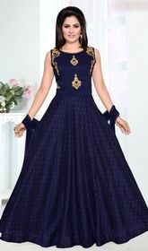 Shop readymade navy blue malai silk partywear anarkali suit , freeshipping all over the world , Item code Indian Gowns Dresses, Mexican Dresses, Long Dresses, Salwar Designs, Mehendi Outfits, Pakistani Outfits, Silk Anarkali Suits, Indian Anarkali, Long Anarkali
