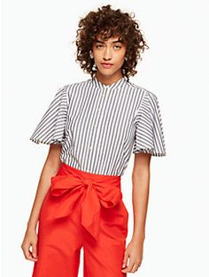 stripe flutter sleeve top by kate spade new york