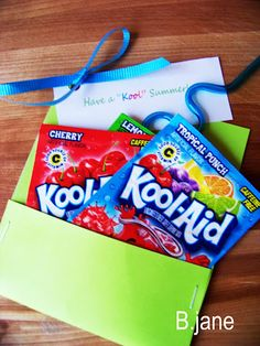 "End of school gift.  ""Have a Kool summer""..with crazy silly straws attached."