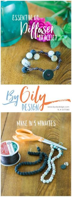 Super easy DIY essential oil diffuser bracelet using Lava rock beads and stone…