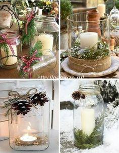новогодний декор стеклянных банок