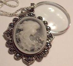 Magnifying Glass Rhinestone Cameo Pendant Necklace | Jenstardesigns - Jewelry on ArtFire