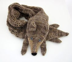 Hand knit wolf scarf in brown black with polymer clay buttons