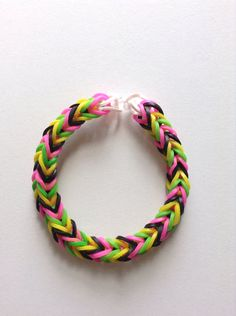 Green, White, Pink and Yellow Fishtail Rubber Band Bracelet
