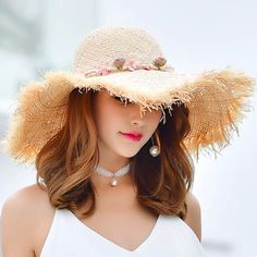 11ffa6cd901 Beach Raw edge sun hat with garland ladies floppy straw hat wide brim design