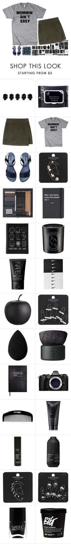 """""""Why does it feel like night today? Something in here's not right today."""" by spottdrossel ❤ liked on Polyvore featuring D.L. & Co., e.l.f., Topshop, Diptyque, NARS Cosmetics, NIKE, CB2, beautyblender, Sloane Stationery and Olympus"""