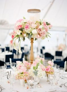 Tall floral centerpieces that wow. Great for Baptism or Christening celebrations