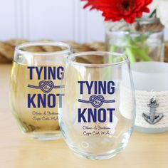 Wedding Theme Ideas Personalized Tying the Knot 9 oz Stemless Wine Glasses - Personalized stemless wine glasses, customized with your name(s), wedding date and/or a special message along with the design of your choice. Beach Wedding Decorations, Beach Wedding Favors, Nautical Wedding, Ikea Wedding, Wedding Hacks, Seaside Wedding, Wedding Ideas, Nautical Theme, Wedding Bells
