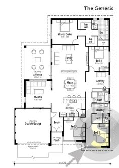 'The Genesis' floorplan. 17m. 4x2. Alfresco, theatre, activity room, kitchen at entry & his'n'hers walk-in robes in the rear master suite. || View Elevation: http://www.pinterest.com/pin/575264552374222634/ || #houseplan #floorplan #smarthomesforliving