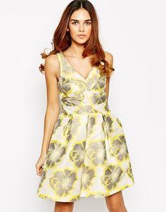 Warehouse Floral Jaquard Prom Dress