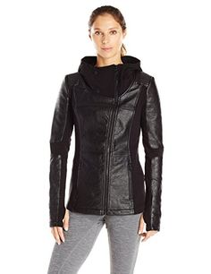 Blanc Noir Asymmetric Hooded Moto Black Large -- Read more  at the image link. (Amazon affiliate link)