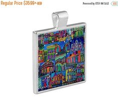 50% off- New Orleans French Quarter NOLA City Skyline Necklace Folk Art Jewelry - Pendant Metal Gift Art Heather Galler Gift- Jazz M