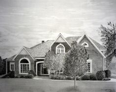 House Drawing From Photograph - Custom Home Pencil Portrait - Chose your size!