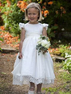 Millicent, organza dress with Nottingham lace detail. http://www.nickimacfarlane.com/our-collections/the-cygnet-collection/millicent/
