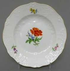 Meissen Teller, Neumarseille , Blumen Dekor, Durchmesser =15,5 cm, #1