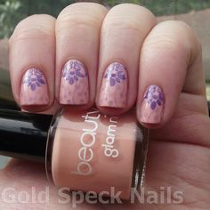 Beauty UK, Peach Melba, Creme, Fantasy Fire, Max Factor,Nail Stamping, Barry M, Indigo, BM08, Bm20  From Gold Speck Nails