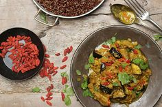 Goji Berry Rendang from The Extra Virgin Kitchen Healthy Eating Tips, Healthy Nutrition, Healthy Grains, Healthy Sugar, Vegetable Drinks, Food Menu, I Foods, Whole Food Recipes, Veggies