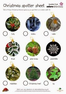 Preschool Winter Activities: FREE Nature Scavenger Hunt Printable Downloads.  From Woodland Trust Nature Detectives (Three Winter Themes:  Christmas Holiday, Winter Weather, & Seasonal Spots.)