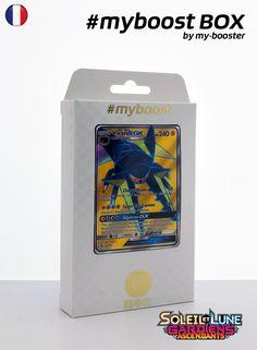 Coffret #myboost LUCANON GX 134/145 Contient 10 cartes Pokemon francaises Soleil et Lune 2 neuves dont : - la carte LUCANON GX arc en ciel 134/145 240PV de la serie Soleil&Lune 2 - 1 carte Holographique ou Reverse - 1 carte 100PV - 1 carte 90PV - 1 carte 80PV my-booster, l offre POKEMON PREMIUM