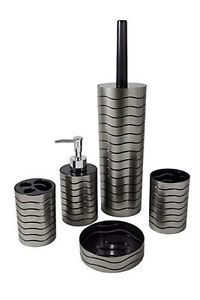 NEW-Black-Crackle-Glass-Bathroom-Accessories-Set-Silver-Mosaic ...