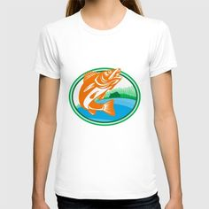 Walleye Fish Lake Cabin Oval Retro T-shirt. Illustration of a Walleye (Sander vitreus, formerly Stizostedion vitreum), a freshwater perciform fish  with lake and cabin in the woods in the background set inside oval shape done in retro style. #illustration #WalleyeFish