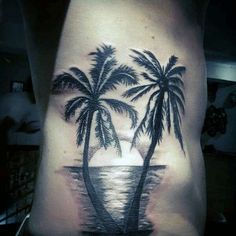 Palm Trees With Sunset Reflecting Sea Tattoo On Torso Hawaii Tattoos, Sunset Tattoos, Ocean Tattoos, Forearm Tattoos, Body Art Tattoos, Cool Tattoos, Tatoos, Tree Tattoo Men, Tree Tattoo Designs