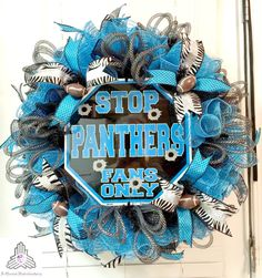 "SALE  Carolina Panthers ""Stop Panthers Fans Only"" Ruffle Deco Mesh Wreath"