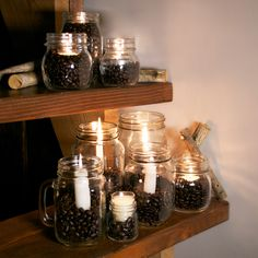 On the ninth day of Kahlua Holiday light nine different candles in different jars for a retro cool look!