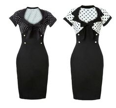 Vintage Pencil Dress Black and White with Polka Dots Wiggle Dress