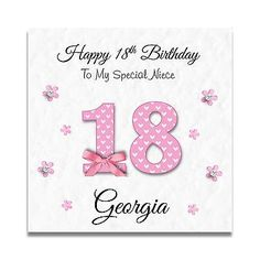 Handmade Personalised Ladies Daughter Granddaughter 16th 18th Birthday Card Cards Greeting