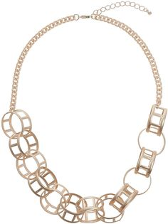 Womens rose gold circle link collar necklace from Topshop - £12.50 at ClothingByColour.com