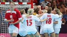 Norway celebrate victory over Denmark in women's Handball