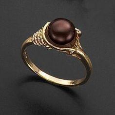 Chocolate pearl wedding ring