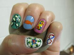Biology Nails - paramecia, goldfish, mitosis, DNA, and a transport vesicle
